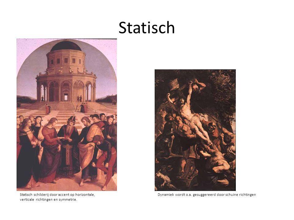 Statisch Dynamiek wordt o.a. gesuggereerd door schuine richtingenStatisch schilderij door accent op horizontale, verticale richtingen en symmetrie.