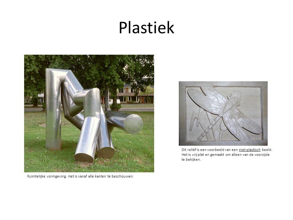 Plastiek Ruimtelijke vormgeving. Het is vanaf alle kanten te beschouwen. Dit reliëf is een voorbeeld van een niet-plastisch beeld. Het is vrij plat en