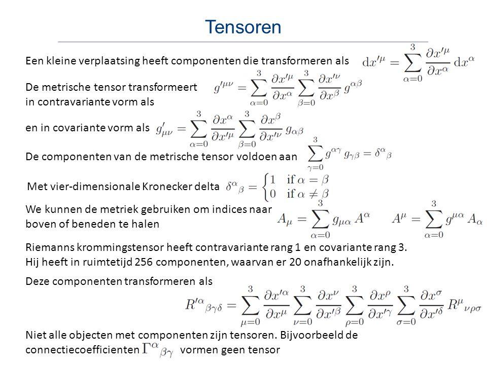Tensoren Een kleine verplaatsing heeft componenten die transformeren als De metrische tensor transformeert in contravariante vorm als en in covariante