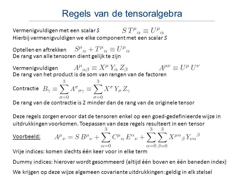 Regels van de tensoralgebra Vermenigvuldigen met een scalar S Optellen en aftrekken Vermenigvuldigen Contractie Voorbeeld: Deze regels zorgen ervoor d