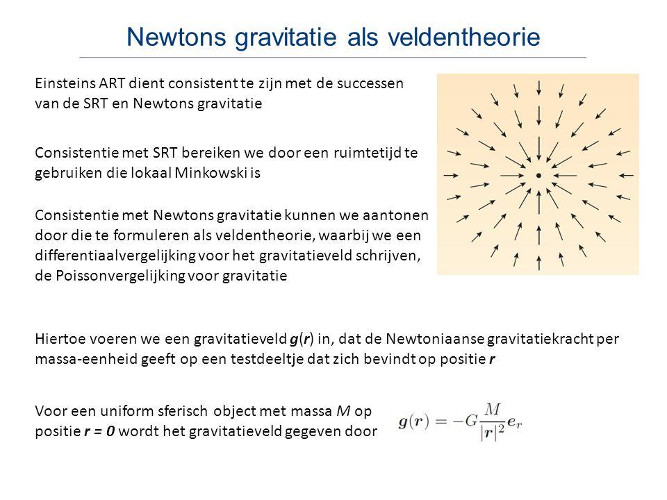 Newtons gravitatie als veldentheorie Einsteins ART dient consistent te zijn met de successen van de SRT en Newtons gravitatie Consistentie met SRT ber