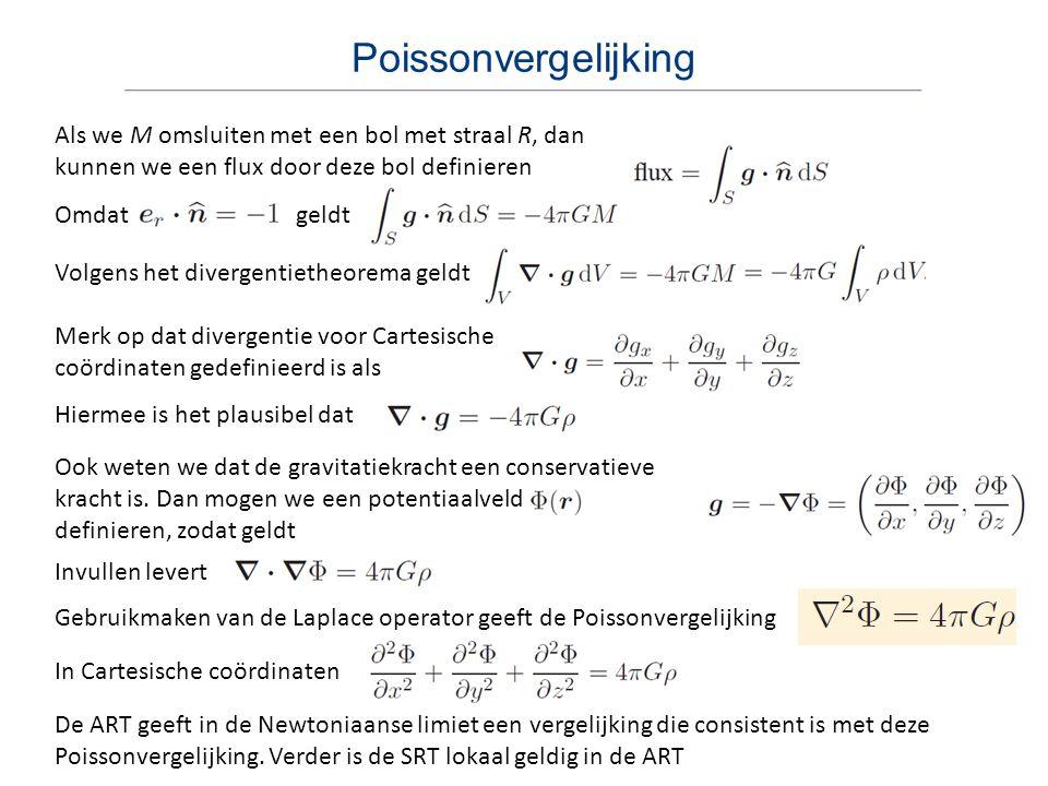 Poissonvergelijking Als we M omsluiten met een bol met straal R, dan kunnen we een flux door deze bol definieren Omdat geldt Volgens het divergentieth