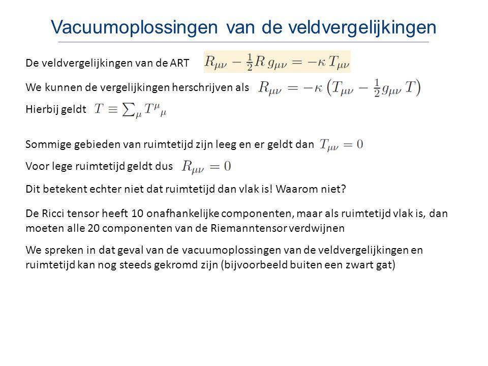 Vacuumoplossingen van de veldvergelijkingen De veldvergelijkingen van de ART We spreken in dat geval van de vacuumoplossingen van de veldvergelijkinge