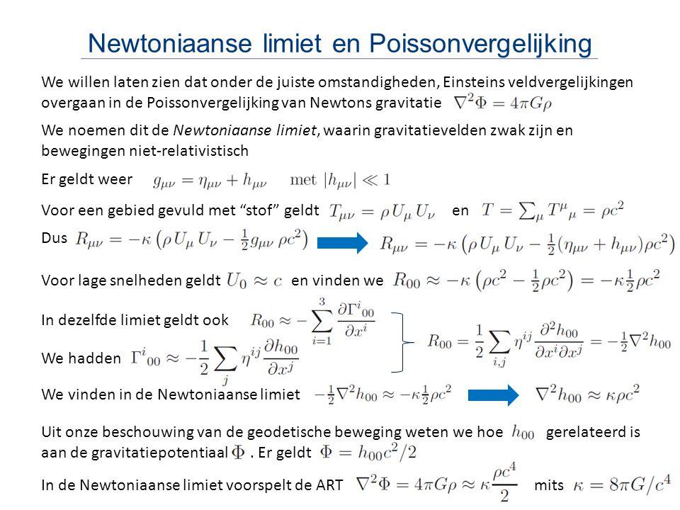 Newtoniaanse limiet en Poissonvergelijking We willen laten zien dat onder de juiste omstandigheden, Einsteins veldvergelijkingen overgaan in de Poisso