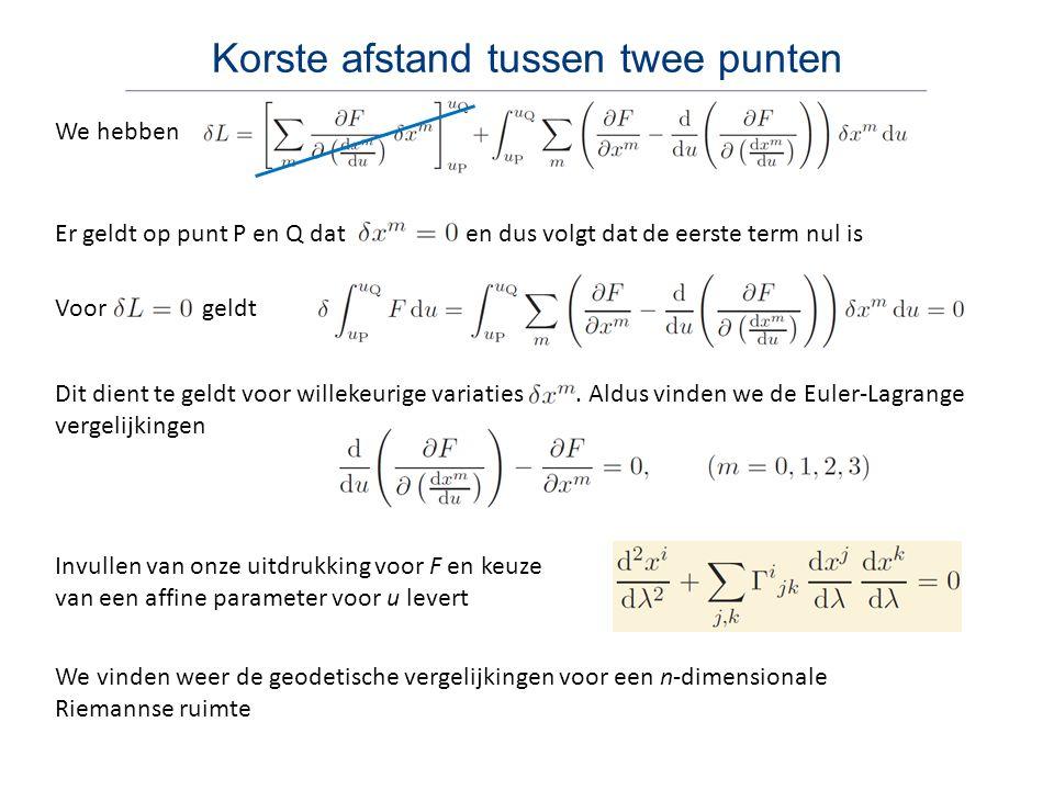 Newtons gravitatie als veldentheorie Einsteins ART dient consistent te zijn met de successen van de SRT en Newtons gravitatie Consistentie met SRT bereiken we door een ruimtetijd te gebruiken die lokaal Minkowski is Consistentie met Newtons gravitatie kunnen we aantonen door die te formuleren als veldentheorie, waarbij we een differentiaalvergelijking voor het gravitatieveld schrijven, de Poissonvergelijking voor gravitatie Hiertoe voeren we een gravitatieveld g(r) in, dat de Newtoniaanse gravitatiekracht per massa-eenheid geeft op een testdeeltje dat zich bevindt op positie r Voor een uniform sferisch object met massa M op positie r = 0 wordt het gravitatieveld gegeven door