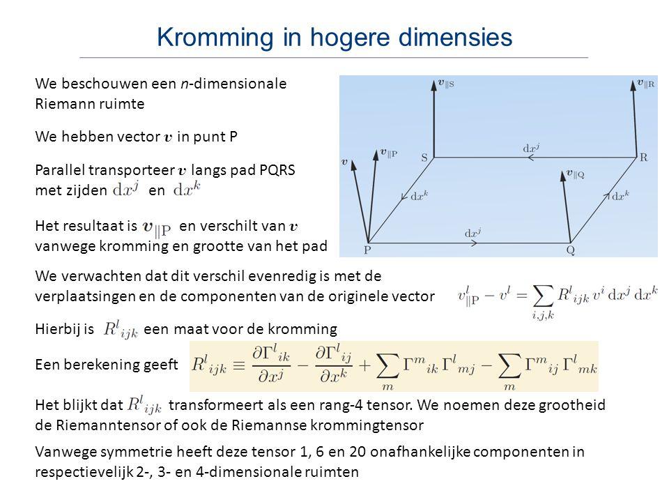 Einsteintensor Het equivalentieprincipe leidde Einstein ertoe dat gravitatie niet als een kracht, maar als een manifestatie van de kromming van ruimtetijd moest zijn Verdere contractie geeft de Ricci (of krommings) scalar Merk op dat ook de metriek symmetrisch is Uiteindelijk vinden we de Einsteintensor Hij zocht naar een geometrisch object, een tensor van rang 2, dat gerelateerd kan worden aan de energie-impuls tensor Uiteindelijk kwam hij uit op een contractie van de Riemanntensor We contraheren de eerste en laatste index en vinden de Ricci tensor Deze tensor is, net als de energie-impulstensor, symmetrisch Ook geldt dat de covariante divergentie nul is