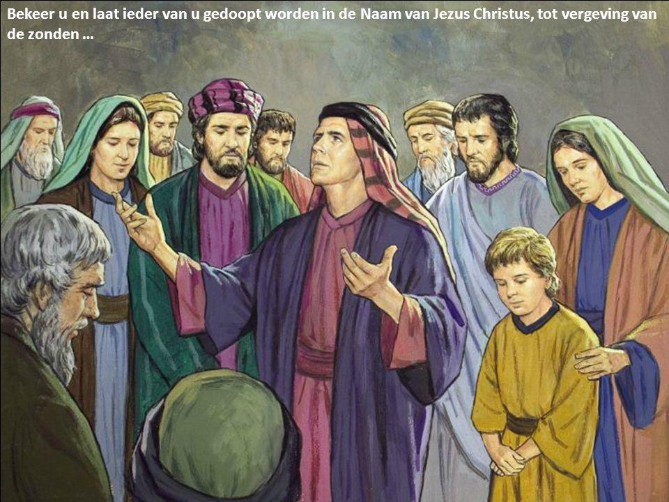 Bekeer u en laat ieder van u gedoopt worden in de Naam van Jezus Christus, tot vergeving van de zonden …