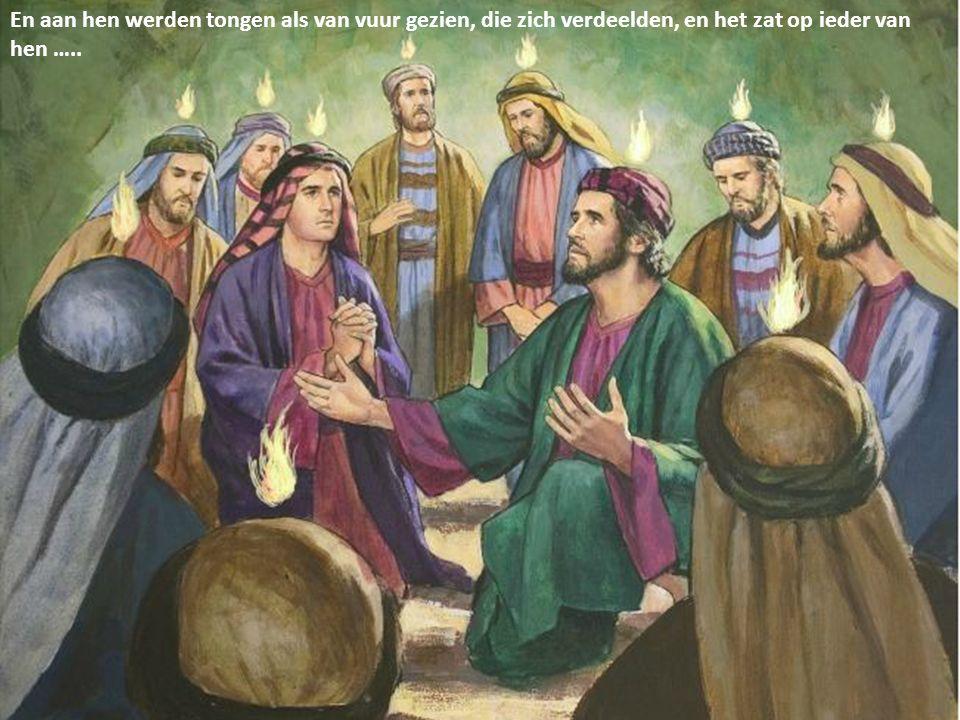 En aan hen werden tongen als van vuur gezien, die zich verdeelden, en het zat op ieder van hen …..