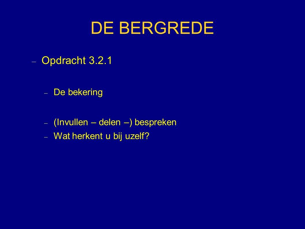 DE BERGREDE  Opdracht 3.2.1  De bekering  (Invullen – delen –) bespreken  Wat herkent u bij uzelf