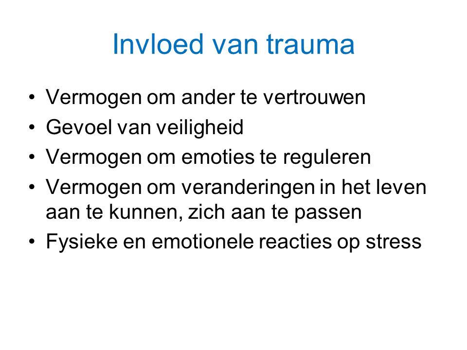 Invloed van trauma Vermogen om ander te vertrouwen Gevoel van veiligheid Vermogen om emoties te reguleren Vermogen om veranderingen in het leven aan te kunnen, zich aan te passen Fysieke en emotionele reacties op stress