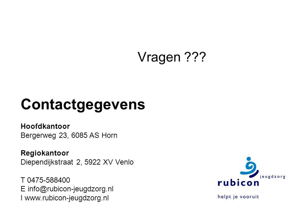 Contactgegevens Hoofdkantoor Bergerweg 23, 6085 AS Horn Regiokantoor Diependijkstraat 2, 5922 XV Venlo T 0475-588400 E info@rubicon-jeugdzorg.nl I www.rubicon-jeugdzorg.nl Vragen ???