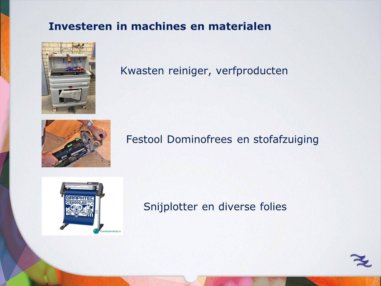 Investeren in machines en materialen Kwasten reiniger, verfproducten Festool Dominofrees en stofafzuiging Snijplotter en diverse folies