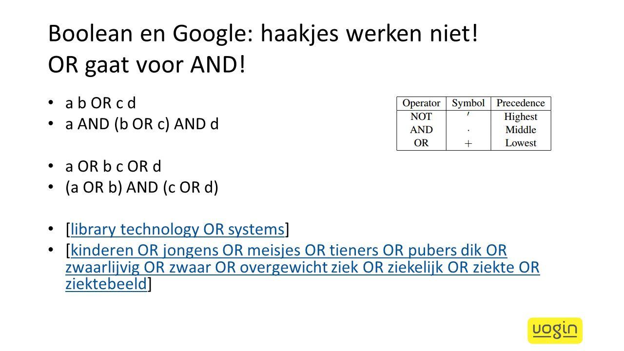 Boolean en Google: haakjes werken niet! OR gaat voor AND! a b OR c d a AND (b OR c) AND d a OR b c OR d (a OR b) AND (c OR d) [library technology OR s