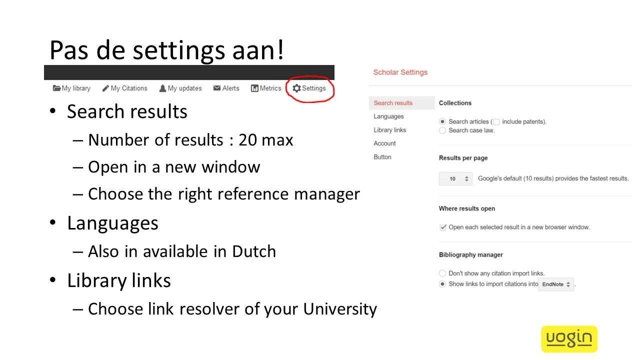 Pas de settings aan! Search results – Number of results : 20 max – Open in a new window – Choose the right reference manager Languages – Also in avail