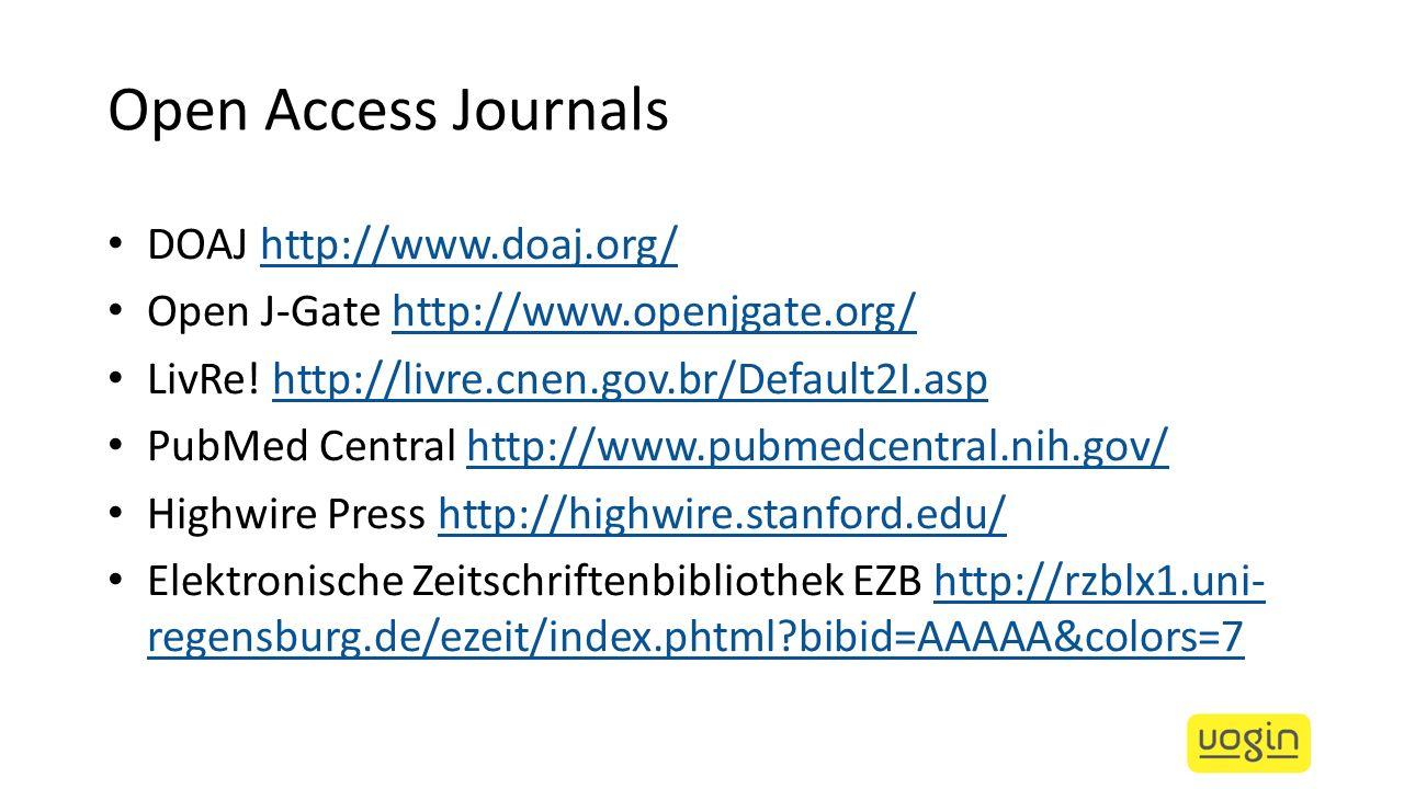 Open Access Journals DOAJ http://www.doaj.org/http://www.doaj.org/ Open J-Gate http://www.openjgate.org/http://www.openjgate.org/ LivRe! http://livre.