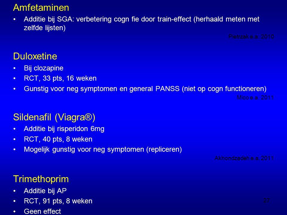 Amfetaminen Additie bij SGA: verbetering cogn fie door train-effect (herhaald meten met zelfde lijsten) Pietrzak e.a.