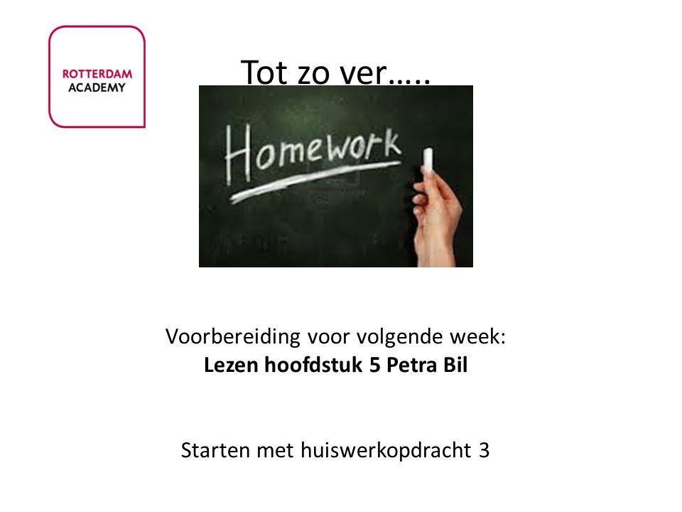 Tot zo ver….. Voorbereiding voor volgende week: Lezen hoofdstuk 5 Petra Bil Starten met huiswerkopdracht 3