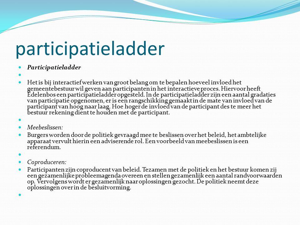 participatieladder Participatieladder Het is bij interactief werken van groot belang om te bepalen hoeveel invloed het gemeentebestuur wil geven aan p