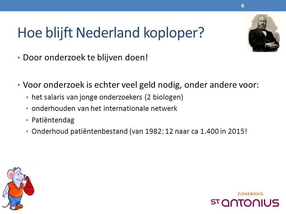 Hoe blijft Nederland koploper? Door onderzoek te blijven doen! Voor onderzoek is echter veel geld nodig, onder andere voor: het salaris van jonge onde