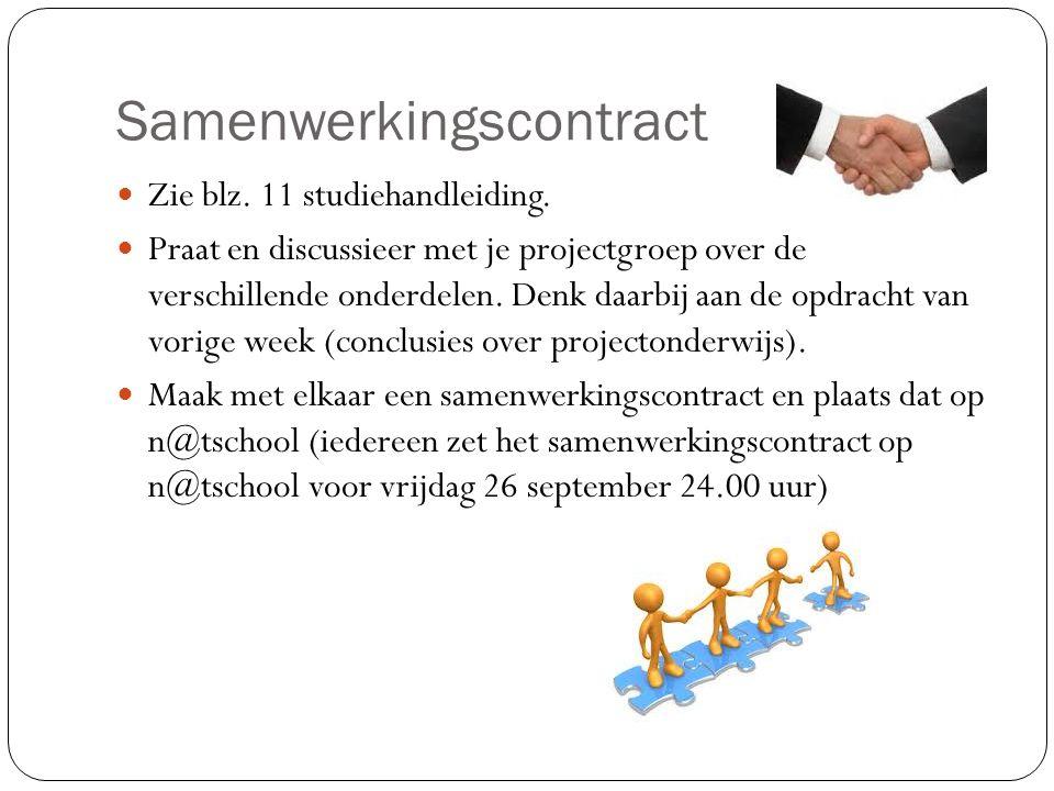 Samenwerkingscontract Zie blz. 11 studiehandleiding. Praat en discussieer met je projectgroep over de verschillende onderdelen. Denk daarbij aan de op