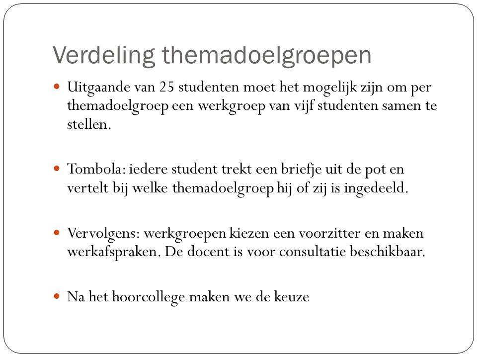 Verdeling themadoelgroepen Uitgaande van 25 studenten moet het mogelijk zijn om per themadoelgroep een werkgroep van vijf studenten samen te stellen.