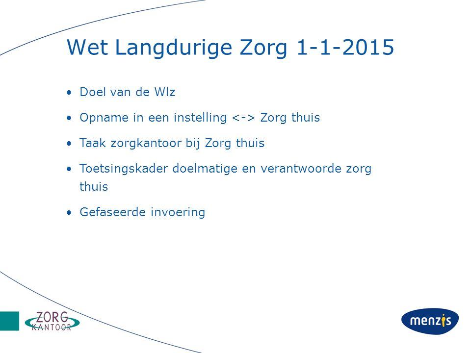 Wet Langdurige Zorg 1-1-2015 Doel van de Wlz Opname in een instelling Zorg thuis Taak zorgkantoor bij Zorg thuis Toetsingskader doelmatige en verantwo
