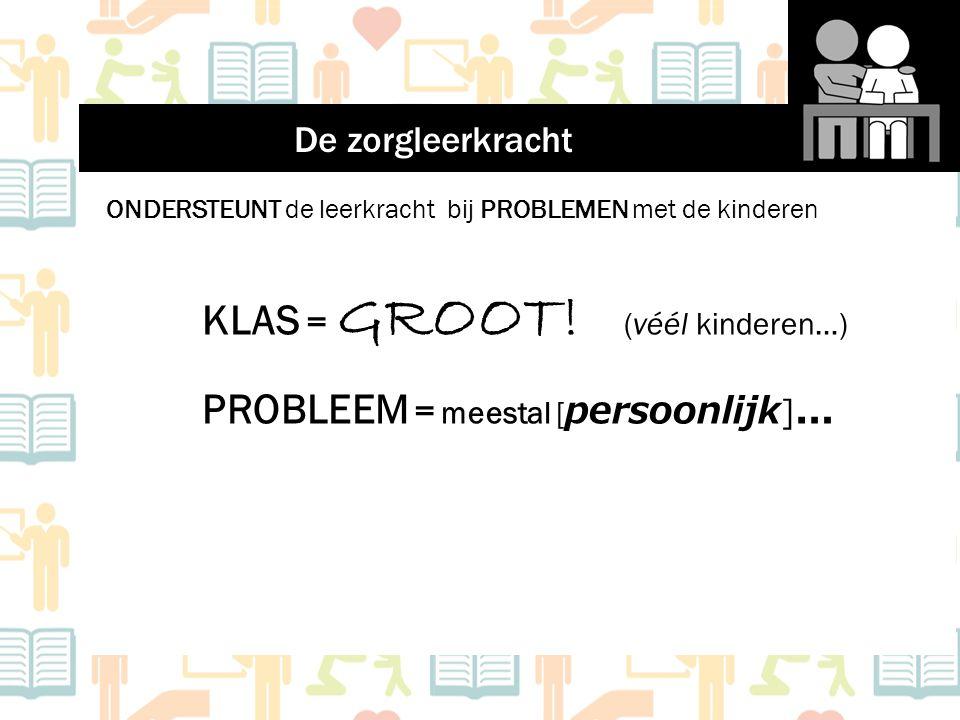 ONDERSTEUNT de leerkracht bij PROBLEMEN met de kinderen KLAS = GROOT! (véél kinderen…) PROBLEEM = meestal [ persoonlijk ] … De zorgleerkracht
