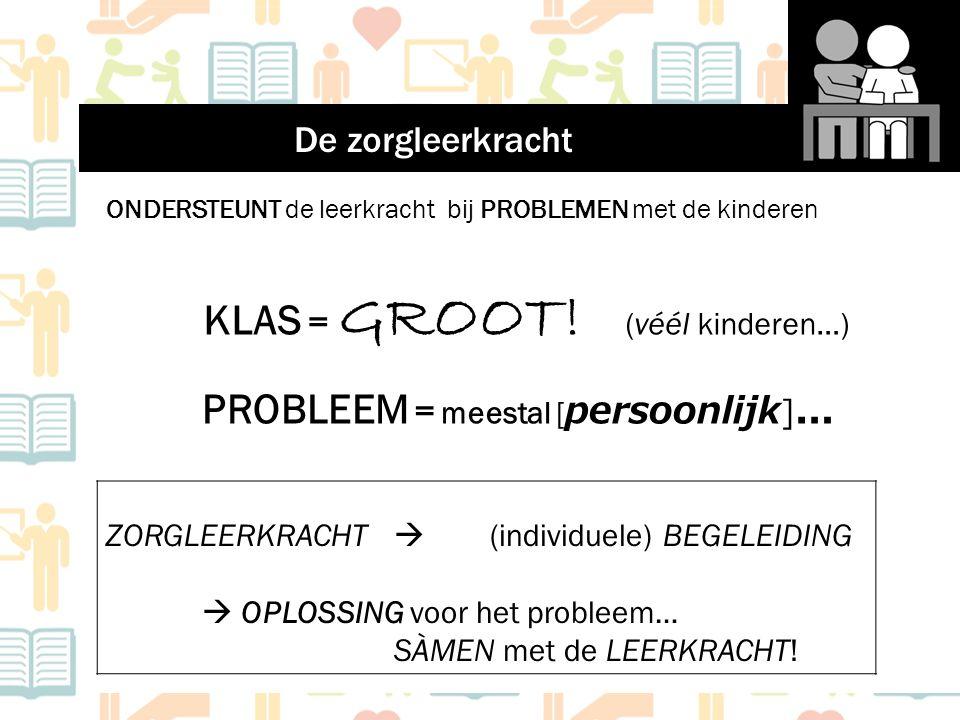 ONDERSTEUNT de leerkracht bij PROBLEMEN met de kinderen KLAS = GROOT! (véél kinderen…) PROBLEEM = meestal [ persoonlijk ] … ZORGLEERKRACHT  (individu