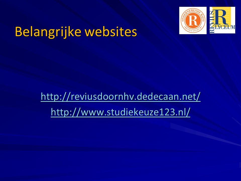 Belangrijke websites http://reviusdoornhv.dedecaan.net/ http://www.studiekeuze123.nl/