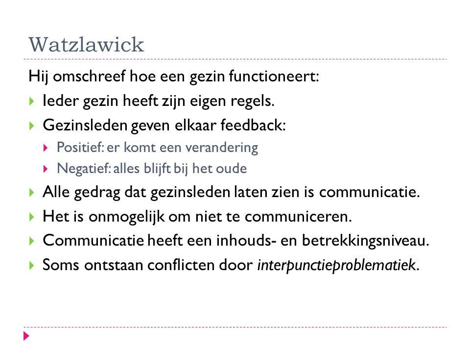 Watzlawick Hij omschreef hoe een gezin functioneert:  Ieder gezin heeft zijn eigen regels.  Gezinsleden geven elkaar feedback:  Positief: er komt e