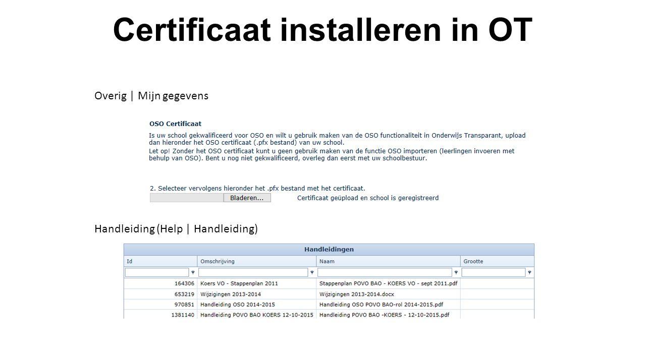 Certificaat installeren in OT Handleiding (Help | Handleiding) Overig | Mijn gegevens