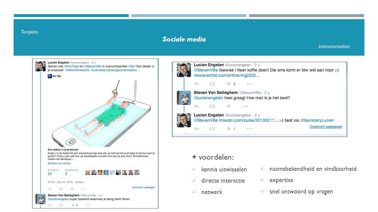 Template Sociale media Instrumentarium + voordelen: kennis uitwisselen directe interactie netwerk naamsbekendheid en vindbaarheid expertise snel antwoord op vragen