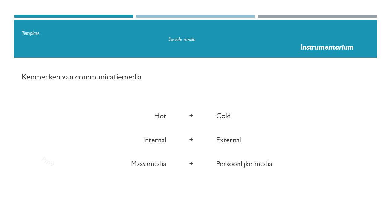 Template Sociale media Instrumentarium Kenmerken van communicatiemedia Privé Hot+Cold Internal+External Massamedia+Persoonlijke media