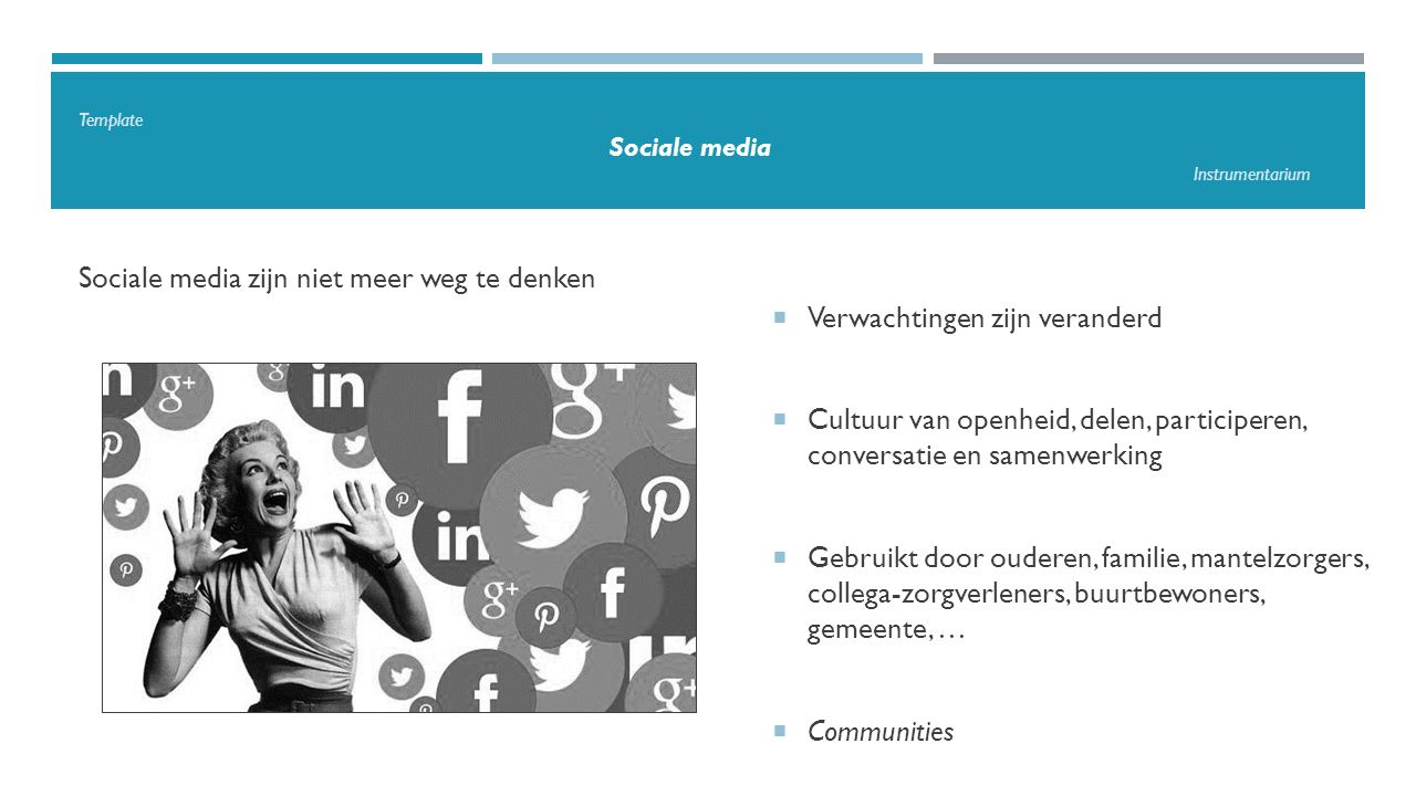 Template Sociale media Instrumentarium Maatschappelijke context  Democratisering van het internet  Openheid, verbinding, samenwerking, kennisdeling  Openheid en samenwerking in zorg en welzijn  Eigen visie, missie en waarden afstemmen  Authentiek zijn