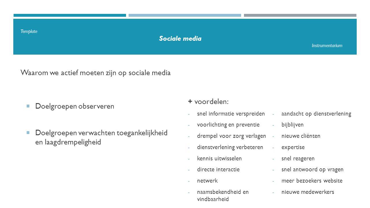 Template Sociale media Instrumentarium Waarom we actief moeten zijn op sociale media  Doelgroepen observeren  Doelgroepen verwachten toegankelijkheid en laagdrempeligheid + voordelen: - snel informatie verspreiden - voorlichting en preventie - drempel voor zorg verlagen - dienstverlening verbeteren - kennis uitwisselen - directe interactie - netwerk - naamsbekendheid en vindbaarheid - aandacht op dienstverlening - bijblijven - nieuwe cliënten - expertise - snel reageren - snel antwoord op vragen - meer bezoekers website - nieuwe medewerkers