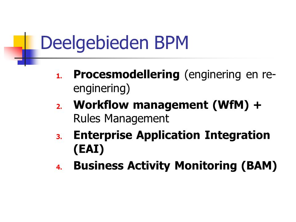 Deelgebieden BPM 1.Procesmodellering (enginering en re- enginering) 2.