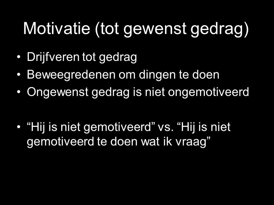Motivatie (tot gewenst gedrag) Drijfveren tot gedrag Beweegredenen om dingen te doen Ongewenst gedrag is niet ongemotiveerd Hij is niet gemotiveerd vs.