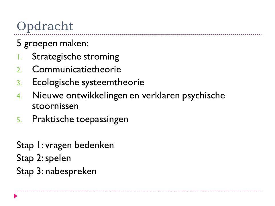 Opdracht 5 groepen maken: 1. Strategische stroming 2. Communicatietheorie 3. Ecologische systeemtheorie 4. Nieuwe ontwikkelingen en verklaren psychisc