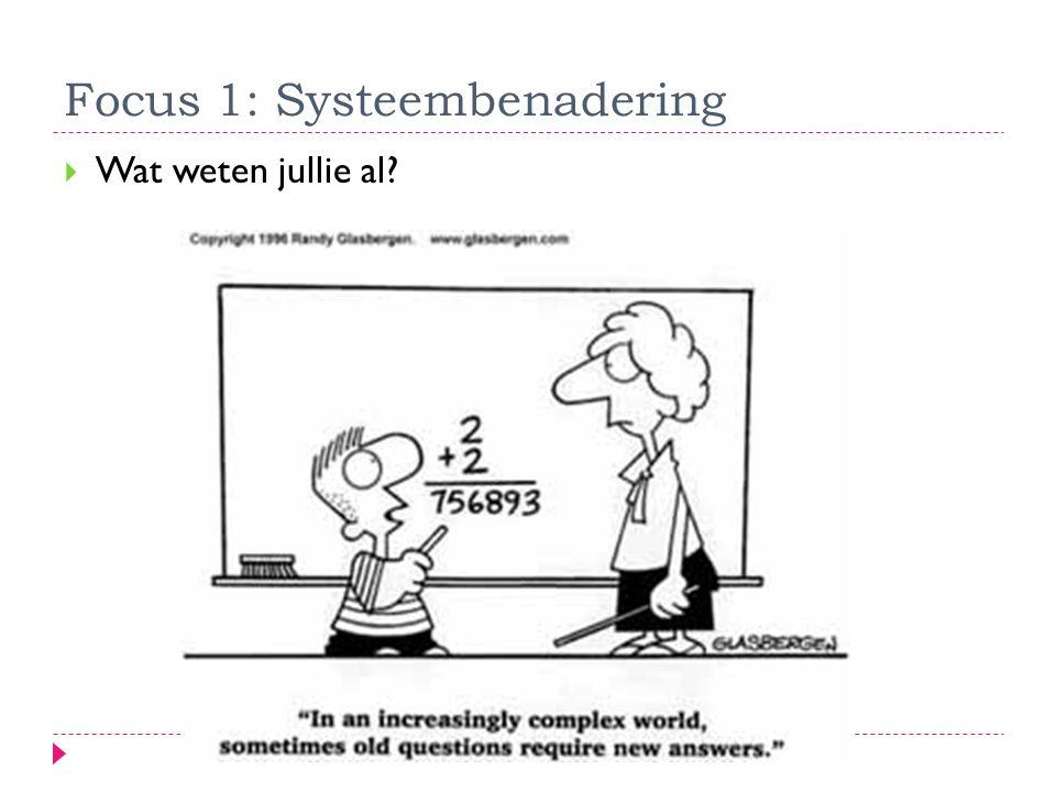 Focus 1: Systeembenadering  Wat weten jullie al?