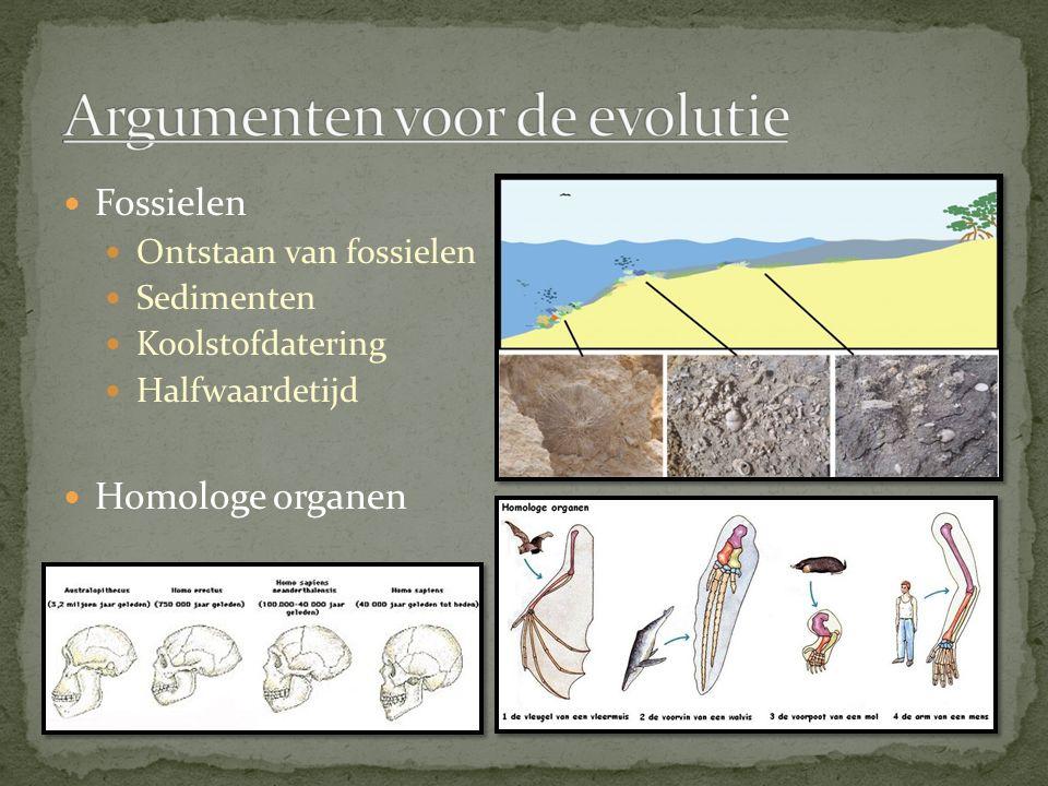 Fossielen Ontstaan van fossielen Sedimenten Koolstofdatering Halfwaardetijd Homologe organen