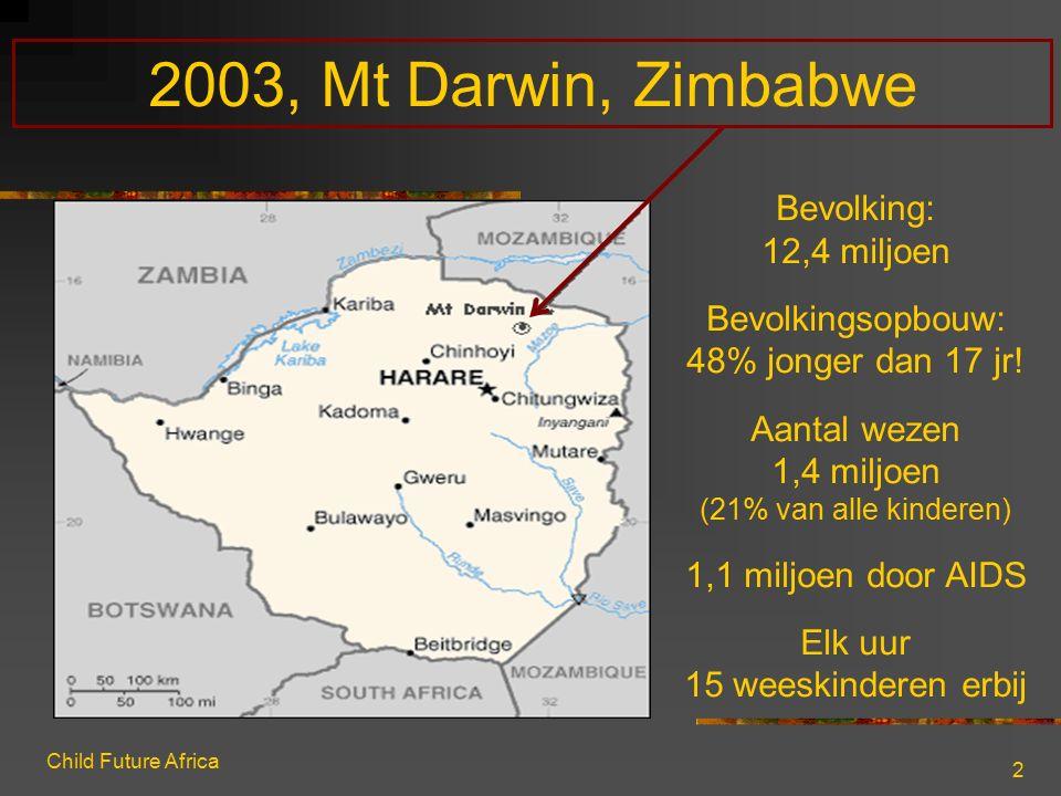 Child Future Africa 2 2003, Mt Darwin, Zimbabwe Bevolking: 12,4 miljoen Bevolkingsopbouw: 48% jonger dan 17 jr! Aantal wezen 1,4 miljoen (21% van alle