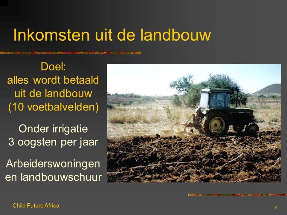 Child Future Africa 7 Inkomsten uit de landbouw Doel: alles wordt betaald uit de landbouw (10 voetbalvelden) Onder irrigatie 3 oogsten per jaar Arbeid