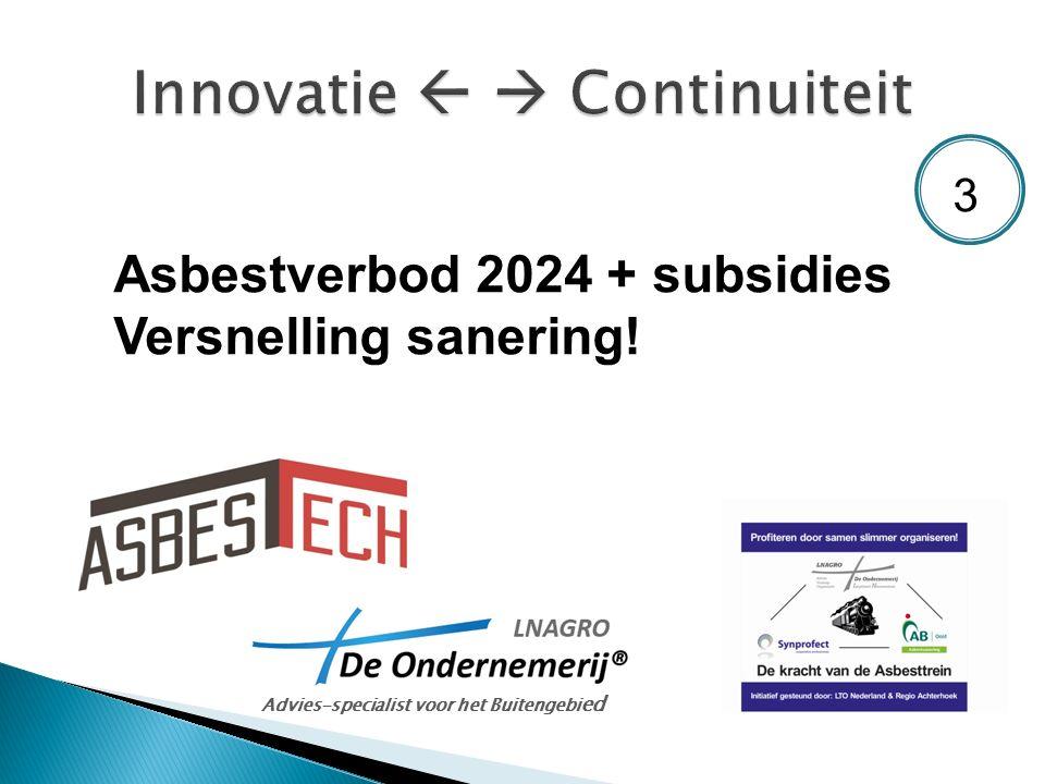 Asbestverbod 2024 + subsidies Versnelling sanering! Advies-specialist voor het Buitengebi ed 3