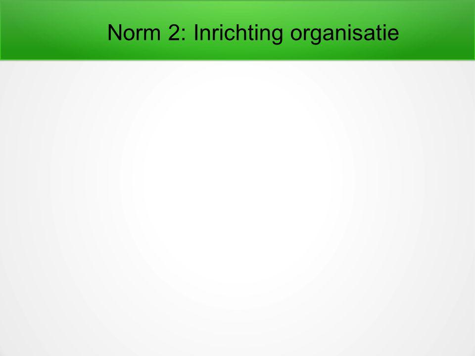 Norm 2: Inrichting organisatie