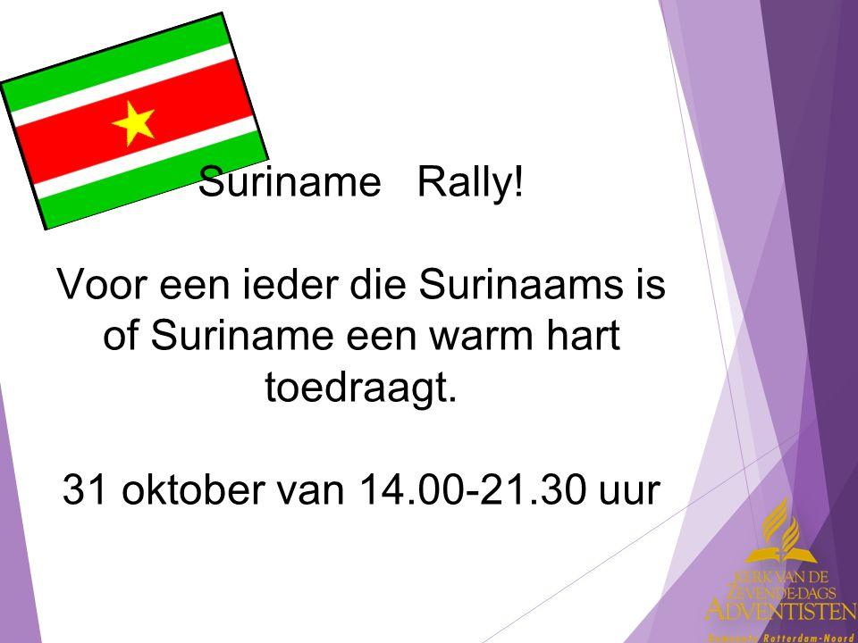 Suriname Rally. Voor een ieder die Surinaams is of Suriname een warm hart toedraagt.