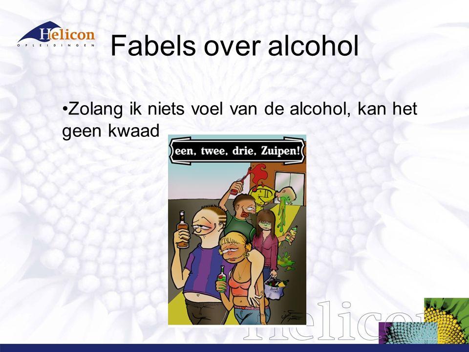 Fabels over alcohol Zolang ik niets voel van de alcohol, kan het geen kwaad