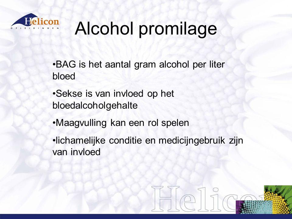 Alcohol promilage BAG is het aantal gram alcohol per liter bloed Sekse is van invloed op het bloedalcoholgehalte Maagvulling kan een rol spelen lichamelijke conditie en medicijngebruik zijn van invloed