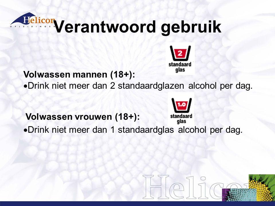 Verantwoord gebruik Volwassen mannen (18+):  Drink niet meer dan 2 standaardglazen alcohol per dag.