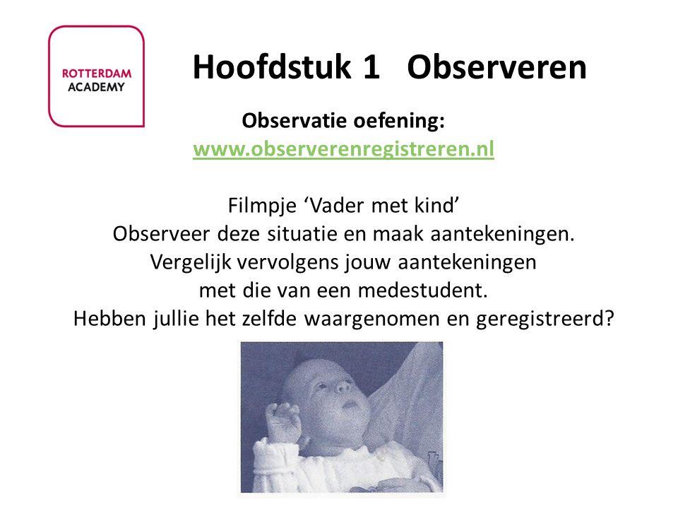 Observatie oefening: www.observerenregistreren.nl Filmpje 'Vader met kind' Observeer deze situatie en maak aantekeningen. Vergelijk vervolgens jouw aa