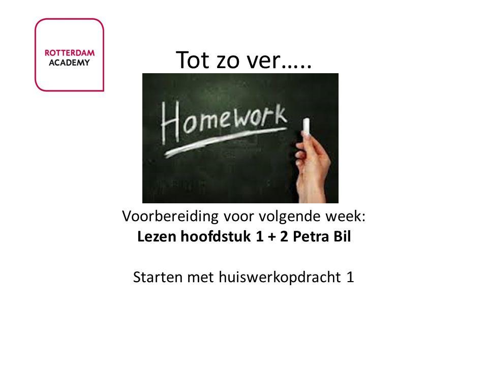 Tot zo ver….. Voorbereiding voor volgende week: Lezen hoofdstuk 1 + 2 Petra Bil Starten met huiswerkopdracht 1